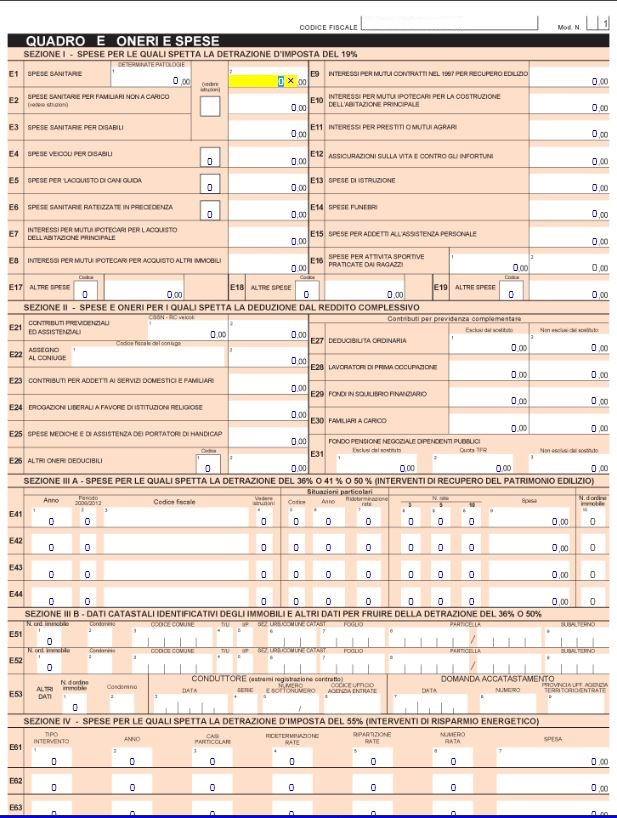 Software 730 compilazione e calcolo del modello 730 for Spese deducibili 730